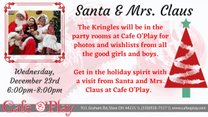 Santa & Mrs. Clause visit Cafe O'Play